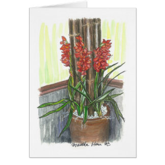 Orchids with bamboo card