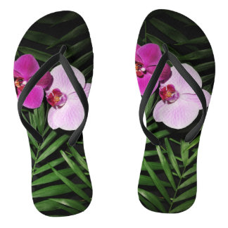 Orchids with palm leaves flip flops