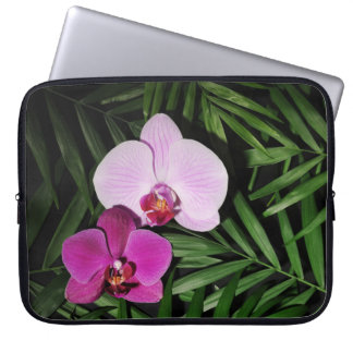 Orchids with palm leaves laptop sleeve