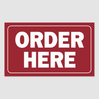 Order Here sign for restaurant or business Sticker