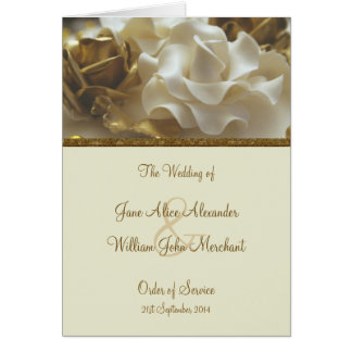 Order of Service Gold & Ivory Wedding Cake Roses Card