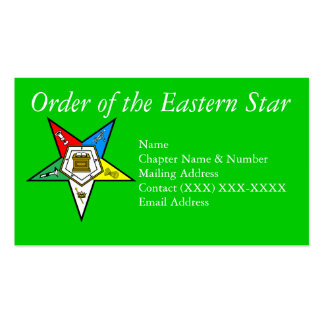 Order of the Eastern Star Green Business Card