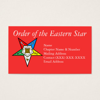 Order of the Eastern Star Red Business Card
