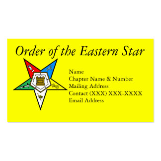 Order of the Eastern Star Yellow Business Card