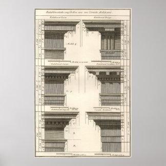 Orders of Architecture, Vintage Entablatures Poster