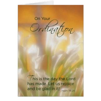 Ordination Congratulations, Lilies & Cross Greeting Card