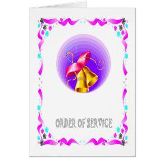 Ordre de service - cloches de mariage carte de vœux
