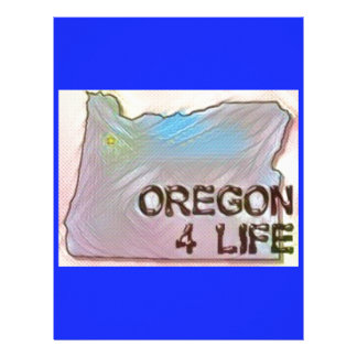 """Oregon 4 Life"" State Map Pride Design Letterhead Template"