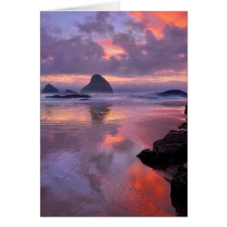 Oregon beach and sea stacks, sunset card