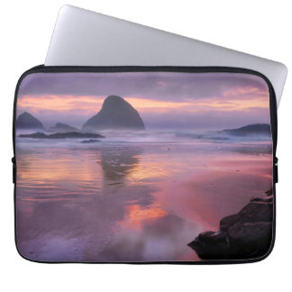 Oregon beach and sea stacks, sunset laptop sleeve