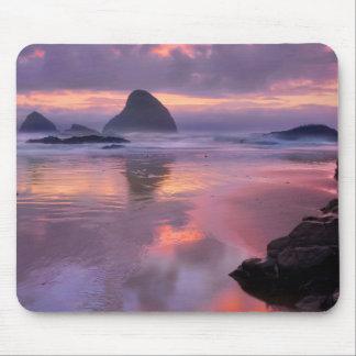 Oregon beach and sea stacks, sunset mouse pad