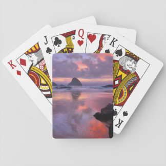 Oregon beach and sea stacks, sunset playing cards