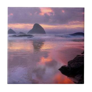 Oregon beach and sea stacks, sunset tiles