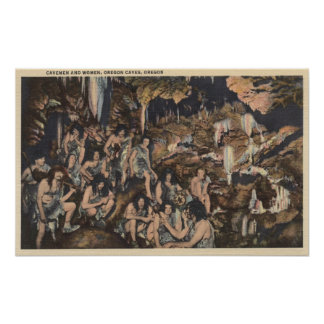 Oregon Caves - Cavemen and Women in Caves Poster