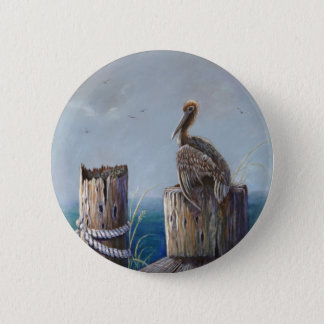 Oregon Coast Brown Pelican Acrylic Ocean Art 2 Inch Round Button