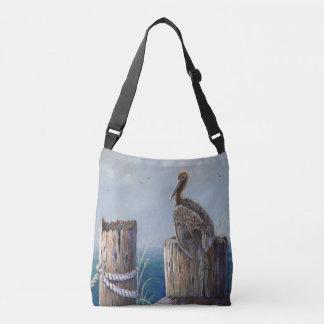 Oregon Coast Brown Pelican Acrylic Ocean Art Crossbody Bag