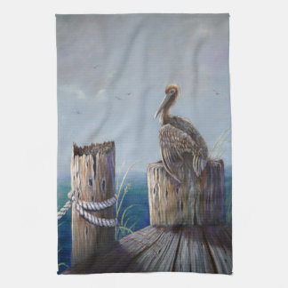 Oregon Coast Brown Pelican Acrylic Ocean Art Kitchen Towel