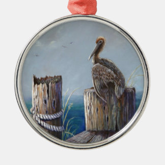 Oregon Coast Brown Pelican Acrylic Ocean Art Metal Ornament
