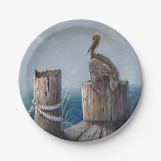 Oregon Coast Brown Pelican Acrylic Ocean Art Paper Plate