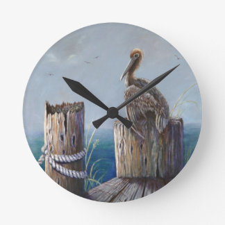 Oregon Coast Brown Pelican Acrylic Ocean Art Round Clock