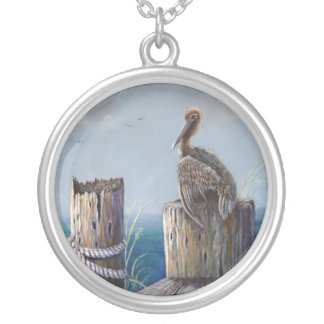 Oregon Coast Brown Pelican Acrylic Ocean Art Silver Plated Necklace