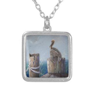 Oregon Coast Brown Pelican Acrylic Ocean Art Silver Plated Necklace