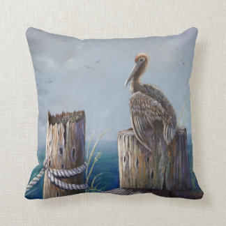Oregon Coast Brown Pelican Acrylic Ocean Art Throw Pillow