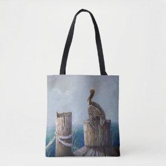 Oregon Coast Brown Pelican Acrylic Ocean Art Tote Bag