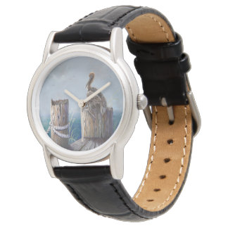 Oregon Coast Brown Pelican Acrylic Ocean Art Watch