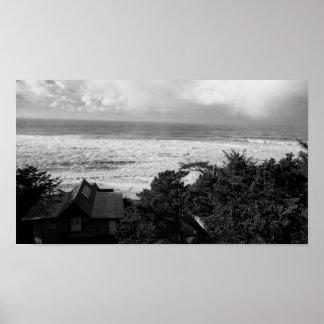 Oregon Coast View Black and White Poster