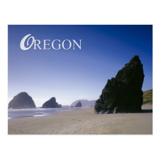 Oregon coast with rock formations postcard