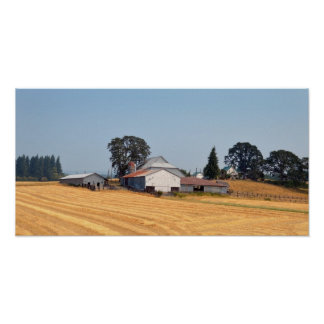 Oregon Farm and Harvested Wheat Field Poster