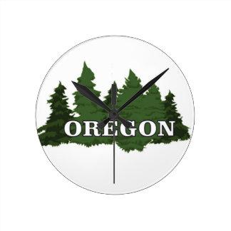 Oregon Forest Round Clock