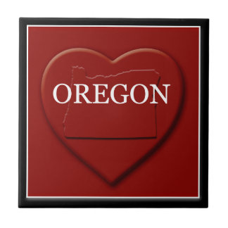 Oregon Heart Map Home Decor Tile
