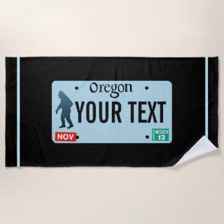 Oregon Sasquatch License Plate Beach Towel