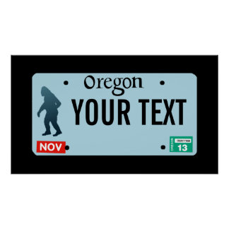 Oregon Sasquatch License Plate Poster