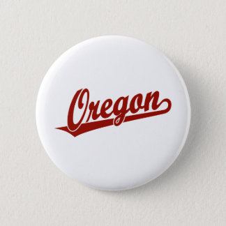 Oregon script logo in red 2 inch round button