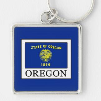 Oregon Silver-Colored Square Keychain