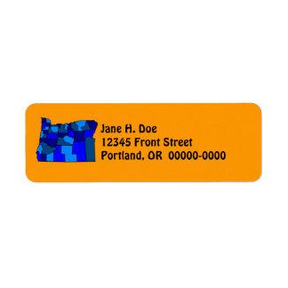 Oregon State Map Shape OR Return Address Label
