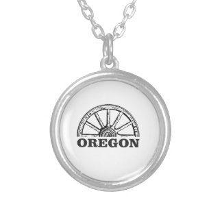 oregon trail simple wheel silver plated necklace