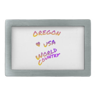 Oregon USA world country, colorful text art Belt Buckles