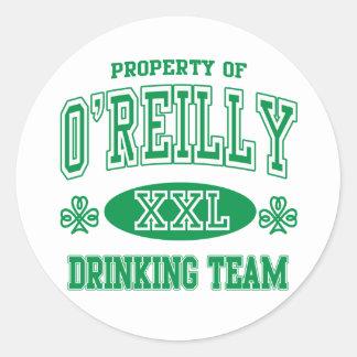O'Reilly Irish Drinking Team Classic Round Sticker