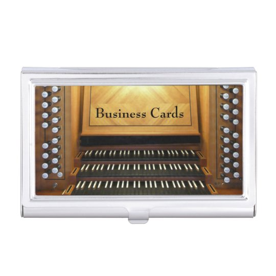 Organ console business card holders