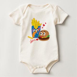 Organic Baby Burger & Fries in Love Baby Bodysuit