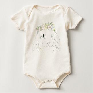 Organic baby girl bunny rabbit bodysuit romper
