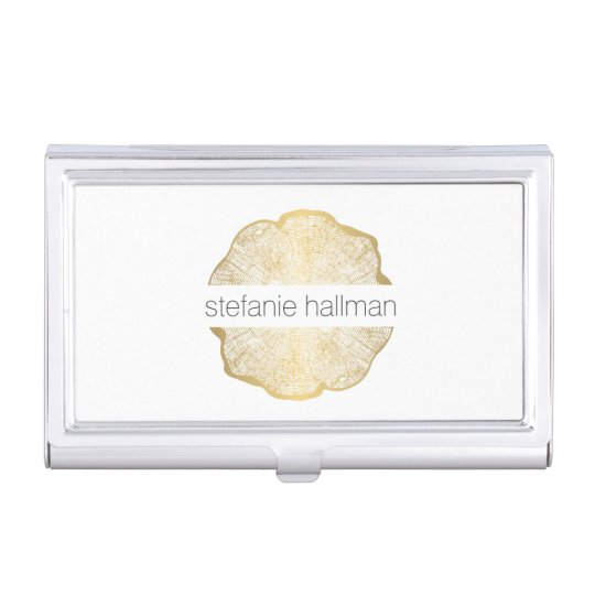 Organic Beauty Gold Tree Rings Case For Business Cards