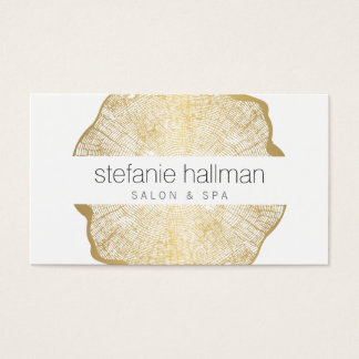 Organic Beauty Gold Tree Rings Salon Business Card