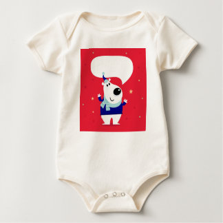 Organic body suit with Little teddy Baby Bodysuit