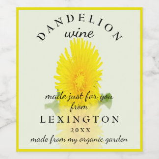 Organic Dandelion Wine Homemade Wine Label