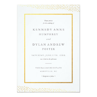 Organic dots faux foil wedding invitation